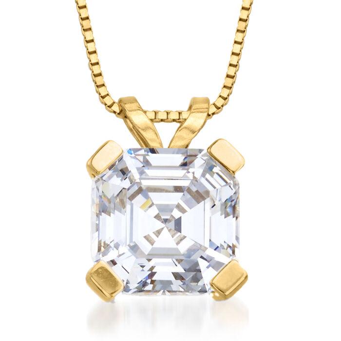 2.50 Carat Asscher-Cut CZ Solitaire Necklace in 14kt Yellow Gold