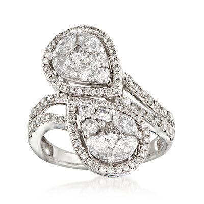 2.29 ct. t.w. Multi-Cut Diamond Infinity Bypass Ring in 18kt White Gold