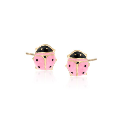 Child's Pink Enamel Ladybug Stud Earrings in 14kt Yellow Gold, , default