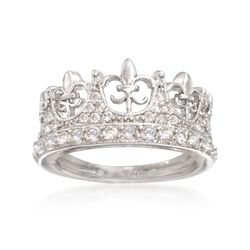 .89 ct. t.w. CZ Fleur-De-Lis Crown Ring in Sterling Silver. Size 6, , default
