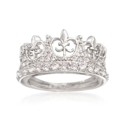.89 ct. t.w. CZ Fleur-De-Lis Crown Ring in Sterling Silver, , default