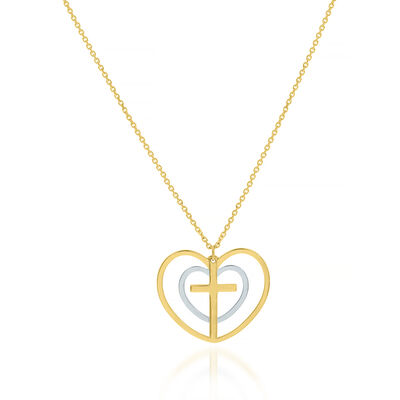 14kt Two-Tone Gold Double-Heart and Cross Necklace