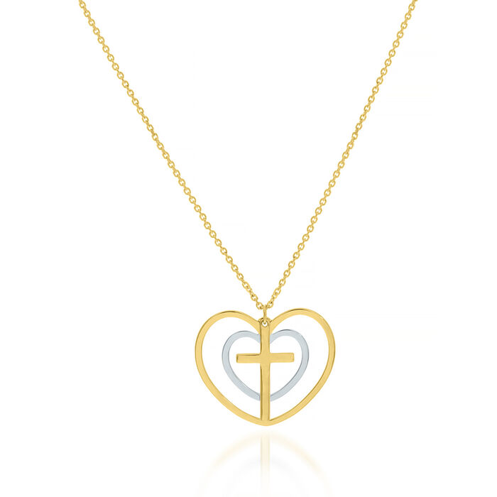 """14kt Two-Tone Gold Double-Heart and Cross Necklace. 16"""""""