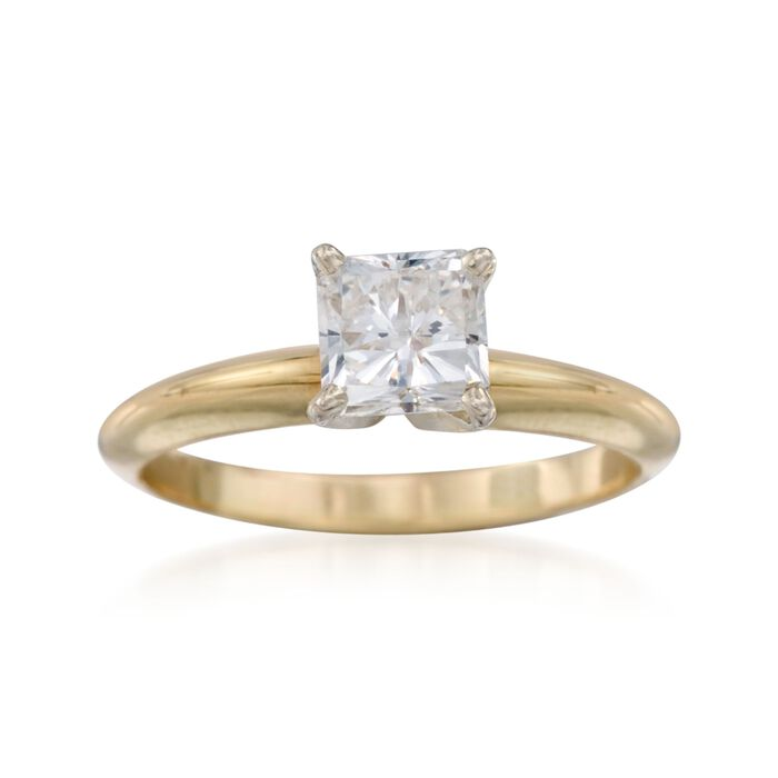 C. 1990 Vintage 1.01 Carat Diamond Solitaire Engagement Ring in 14kt Yellow Gold. Size 5.75
