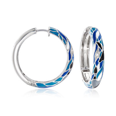 Belle Etoile Migration Enamel Hoop Earrings Sterling Silver, , default