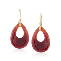 Pear-Shaped Red Agate Drop Earrings in 14kt Yellow Gold, , default