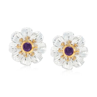 2.00 ct. t.w. Bezel-Set Amethyst Flower Earrings in Two-Tone Sterling Silver, , default