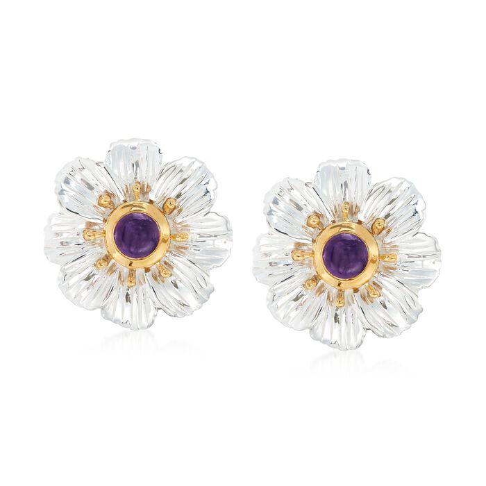 2.00 ct. t.w. Bezel-Set Amethyst Flower Earrings in Two-Tone Sterling Silver , , default