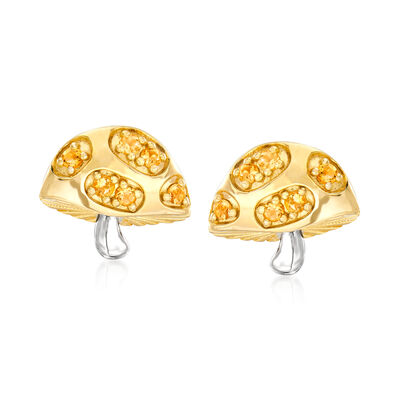 .30 ct. t.w. Citrine Mushroom Earrings in Two-Tone Sterling Silver