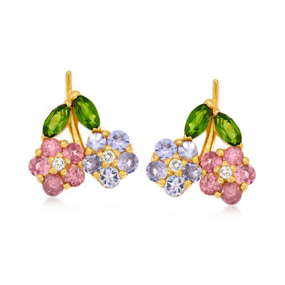 1.36 ct. t.w. Multi-Gemstone Flower Earrings in 18kt Gold Over Sterling