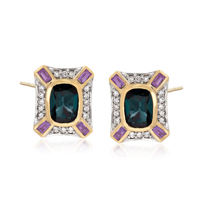 3.00 ct. t.w. London Blue Topaz, .30 ct. t.w. Amethyst and .30 ct. t.w. Diamond Earrings in 14kt Yellow Gold, , default