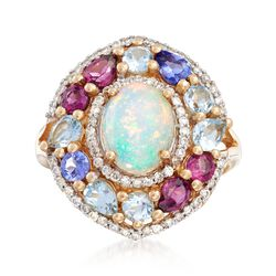 Opal and 1.60 ct. t.w. Multi-Stone Ring With .36 ct. t.w. Diamonds in 14kt Yellow Gold , , default