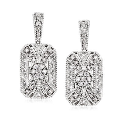 .33 ct. t.w. Diamond Rectangular Drop Earrings in Sterling Silver