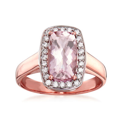 1.90 Carat Morganite and .24 ct. t.w. Diamond Ring in 14kt Rose Gold, , default