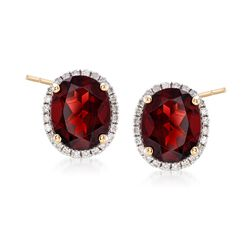 5.80 ct. t.w. Garnet and .31 ct. t.w. Diamond Earrings in 14kt Yellow Gold, , default
