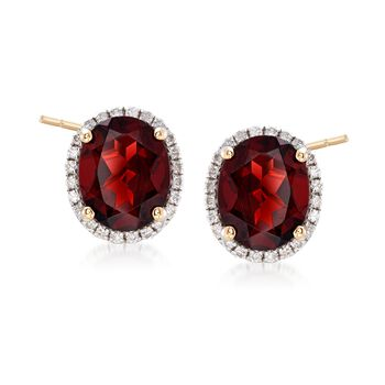 5.80 ct. t.w. Garnet and .31 ct. t.w. Diamond Earrings in 14kt Yellow Gold, , default