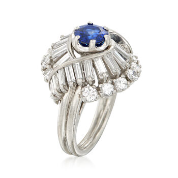 C. 1970 Vintage .95 Carat Sapphire and 2.25 Multi-Cut Diamond Ring in Platinum. Size 5, , default