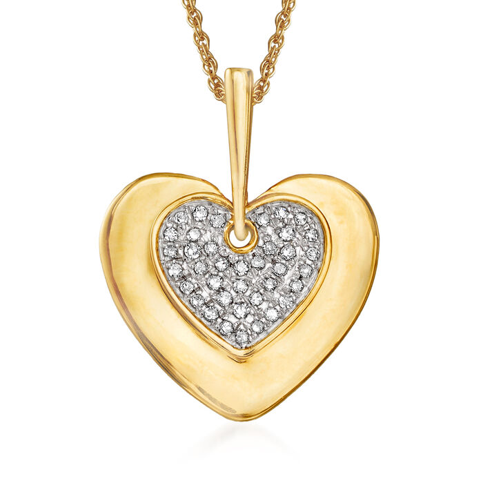 .10 ct. t.w. Diamond Heart Pendant Necklace in 14kt Yellow Gold, , default