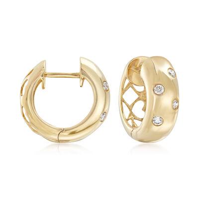 .13 ct. t.w. Diamond Polka Dot Hoop Earrings in 14kt Yellow Gold , , default