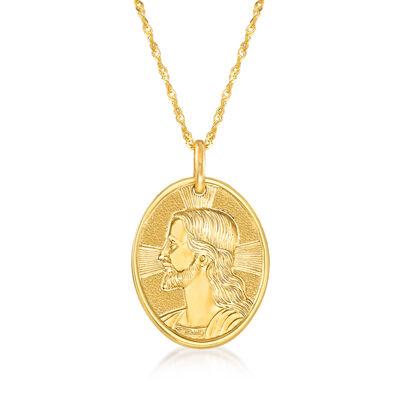 Italian 14kt Yellow Gold Jesus Adjustable Pendant Necklace