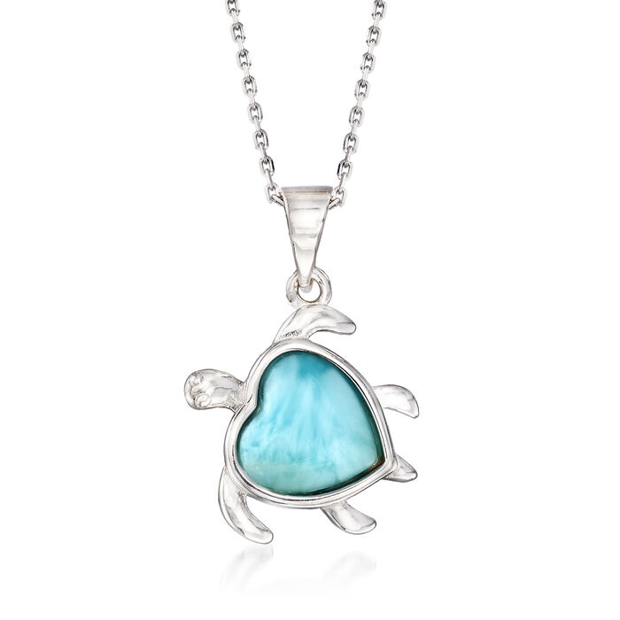 Larimar Turtle Pendant Necklace in Sterling Silver