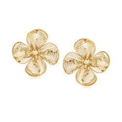 Italian 14kt Yellow Gold Diamond-Cut and Polished Flower Drop Earrings, , default