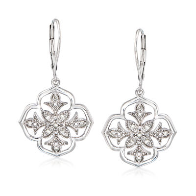 .25 ct. t.w. Diamond Floral Openwork Drop Earrings in Sterling Silver , , default