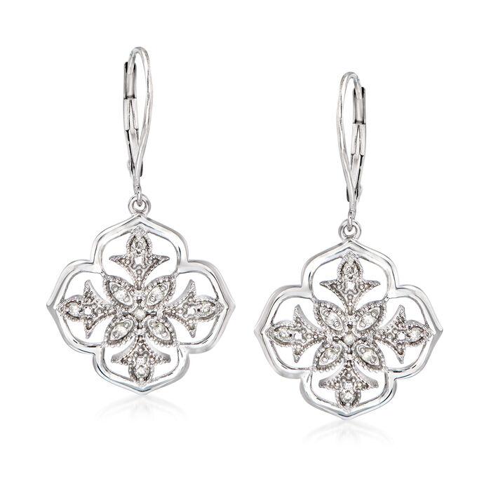 .25 ct. t.w. Diamond Floral Openwork Drop Earrings in Sterling Silver