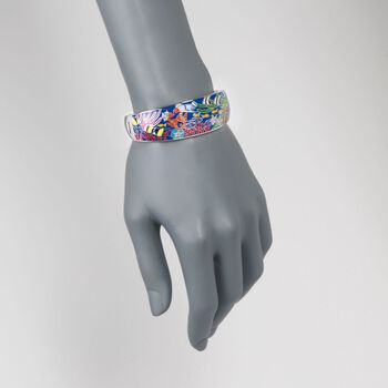 """Belle Etoile """"Seahorse"""" Multicolored Enamel and .10 ct. t.w. CZ Bangle Bracelet in Sterling Silver. 7"""""""