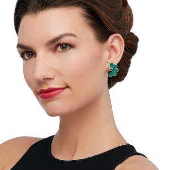 Green Onyx and .10 ct. t.w. Diamond Fan Earrings in Sterling Silver, , default