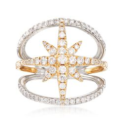 1.05 ct. t.w. Diamond Starburst Open-Space Ring in 14kt Two-Tone Gold, , default
