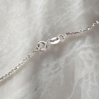 Italian 1mm 14kt White Gold Crisscross Chain Necklace, , default