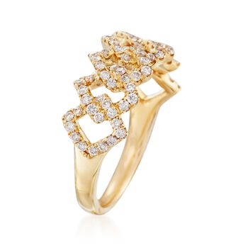 .66 ct. t.w. Diamond Crisscross Ring in 18kt Yellow Gold, , default