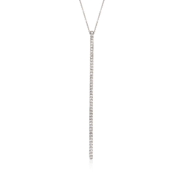 Gabriel Designs 1.00 ct. t.w. Diamond Vertical Bar Necklace in 14kt White Gold. 15.5""