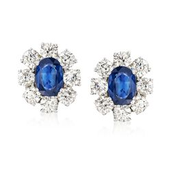 2.00 ct. t.w. Sapphire and 2.55 ct. t.w. Diamond Floral Earrings in 14kt White Gold, , default