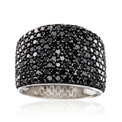 3.70 ct. t.w. Pave Black Spinel Wide-Band Ring in Sterling Silver