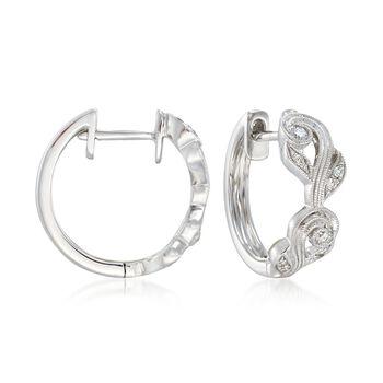 """Simon G. """"Vintage Explorer"""" .14 ct. t.w. Diamond Floral Hoop Earrings in 18kt White Gold. 1/2"""", , default"""