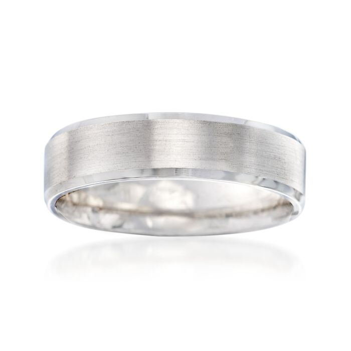 Men's 6mm 14kt White Gold Brushed and Polished Wedding Ring, , default