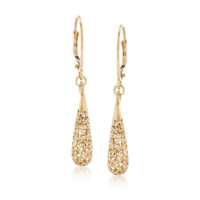 Italian 14kt Yellow Gold Openwork Teardrop Earrings, , default