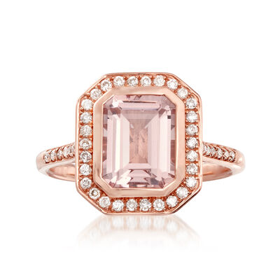 2.00 Carat Morganite and .25 ct. t.w. Diamond Ring in 14kt Rose Gold, , default
