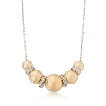 Sterling Silver and 14kt Gold Bead Necklace With .20 ct. t.w. Diamonds, , default