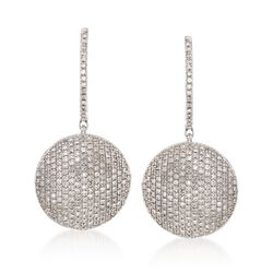1.00 ct. t.w. Pave Diamond Circle Drop Earrings in Sterling Silver , , default