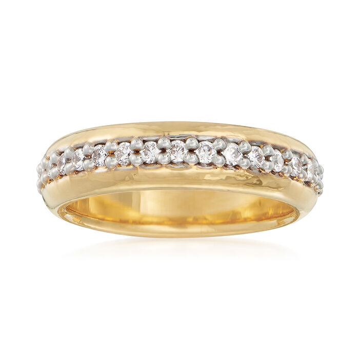 Italian Andiamo .10 ct. t.w. CZ Eternity Ring in 14kt Gold Over Resin, , default