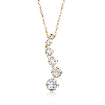 ".60 ct. t.w. CZ Journey Pendant Necklace in 14kt Yellow Gold. 18"", , default"