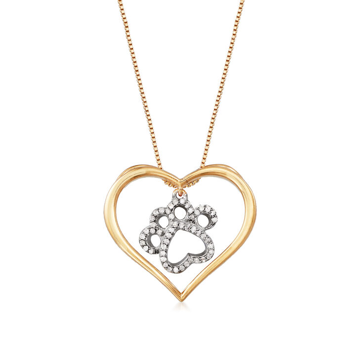 .15 ct. t.w. Diamond Paw Print and Heart Necklace in Sterling Silver and 18kt Gold Over Sterling