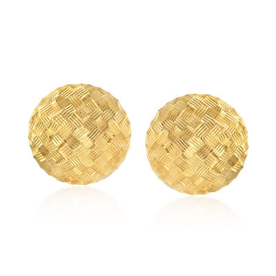 Italian 14kt Yellow Gold Basketweave Dome Earrings, , default