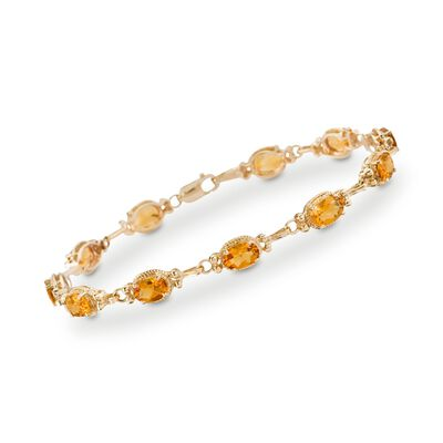 6.00 ct. t.w. Citrine Bracelet in 14kt Yellow Gold, , default