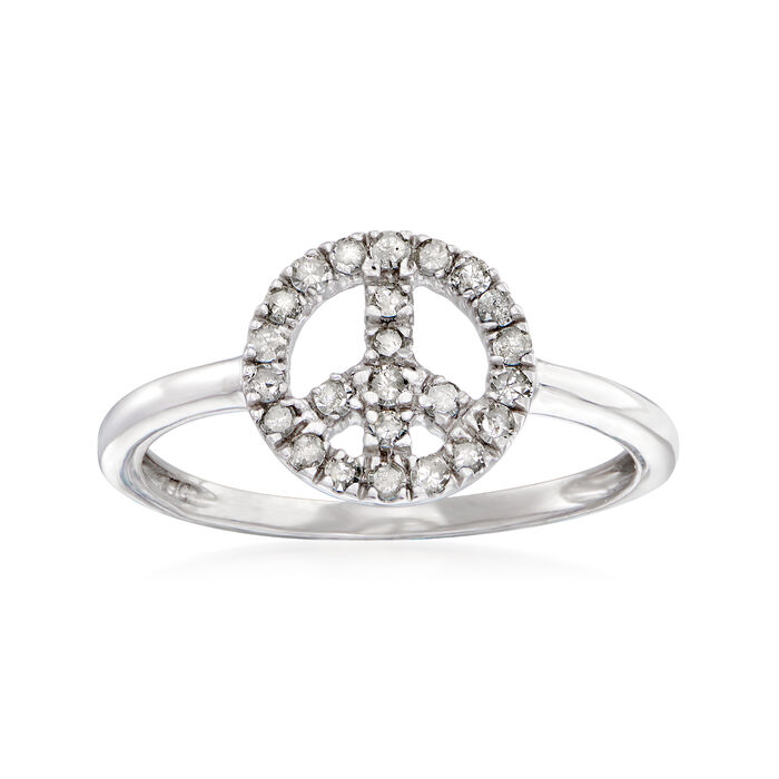 .25 ct. t.w. Diamond Peace Sign Ring in Sterling Silver