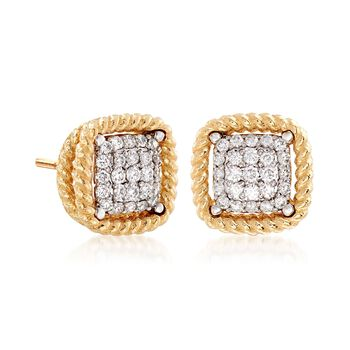 "Roberto Coin ""Barocco"" .30 ct. t.w. Diamond Square Earrings in 18kt Yellow Gold , , default"