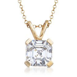 "2.50 Carat Asscher-Cut CZ Solitaire Necklace in 14kt Yellow Gold. 16"", , default"